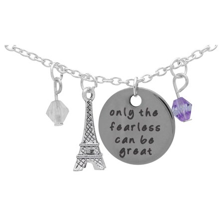 Art Attack Silvertone Only Fearless Can Be Great Paris Eiffel Tower Beaded Charm Pendant Necklace