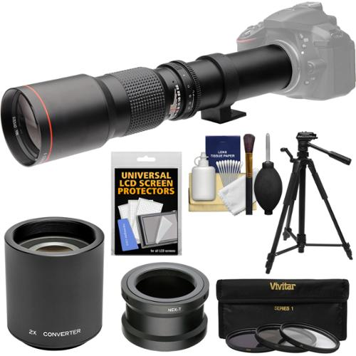 Vivitar 500mm f/8.0 Telephoto Lens with 2x Teleconverter (=1000mm) + Tripod + Filters Kit for Sony Alpha A3000, A5000, A5100, A6000, A7, A7R, A7S E-Mount Camera