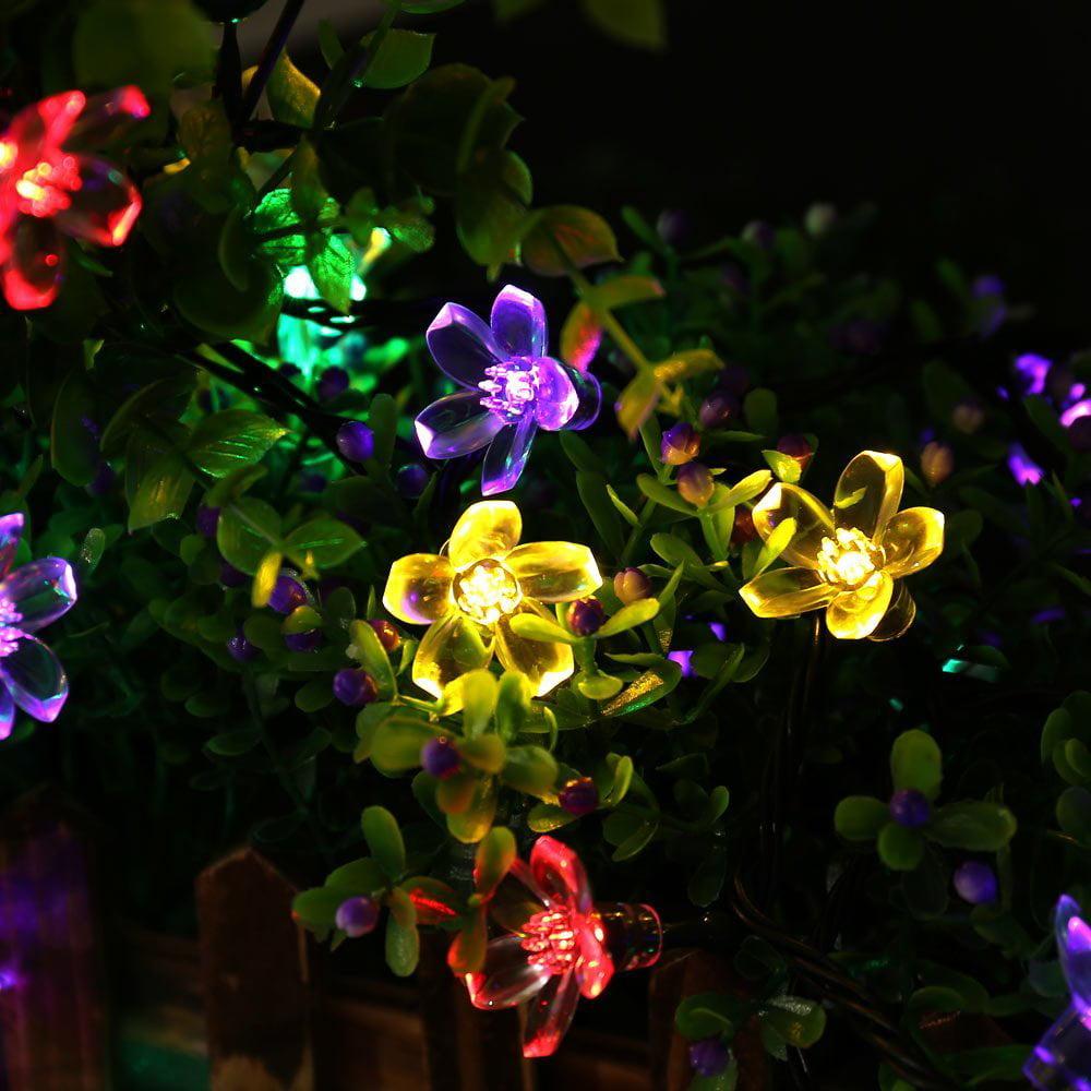 qedertek landscape solar string lights2296ft 50 led waterproof fairy string lights blossom flower for indooroutdoorpatiolawngardenchristmasand - Flower Christmas Lights