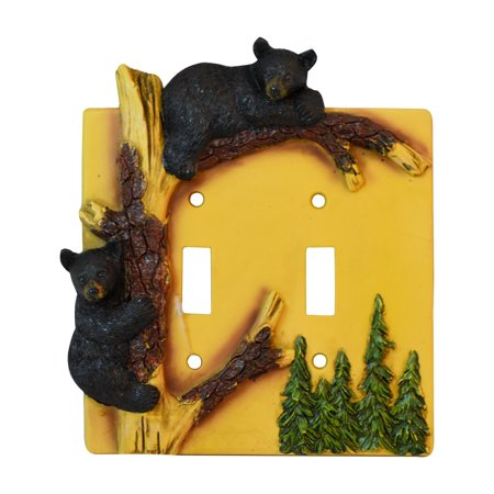 Black Bear Double Switch Cover Home Decor - Wildlife Bear Climbing Tree Rustic Hunting with Wall Mounting Screws ()