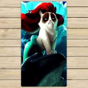 GCKG Mermaid cat Beach Towel Shower Towel Wrap For Home and Travel Use Size 16x28 inches