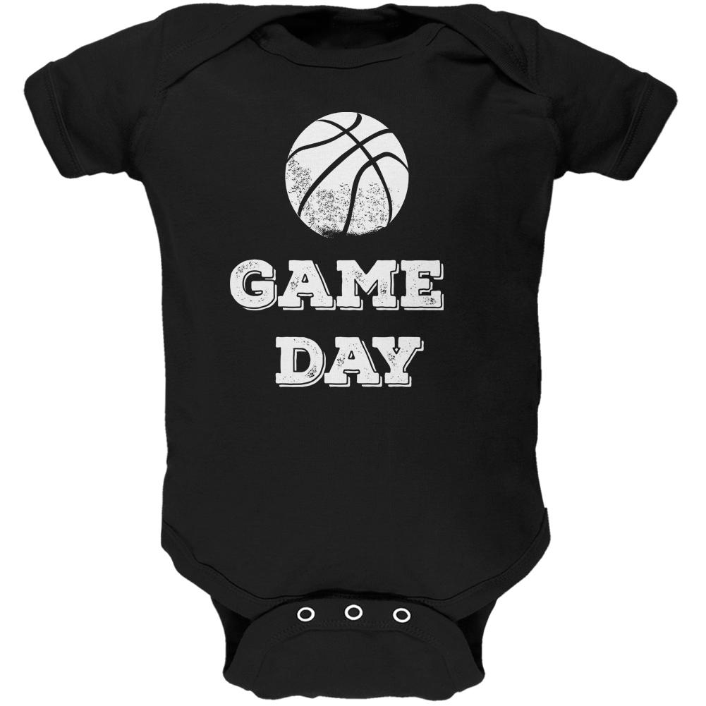 Game Day Basketball Black Soft Baby One Piece