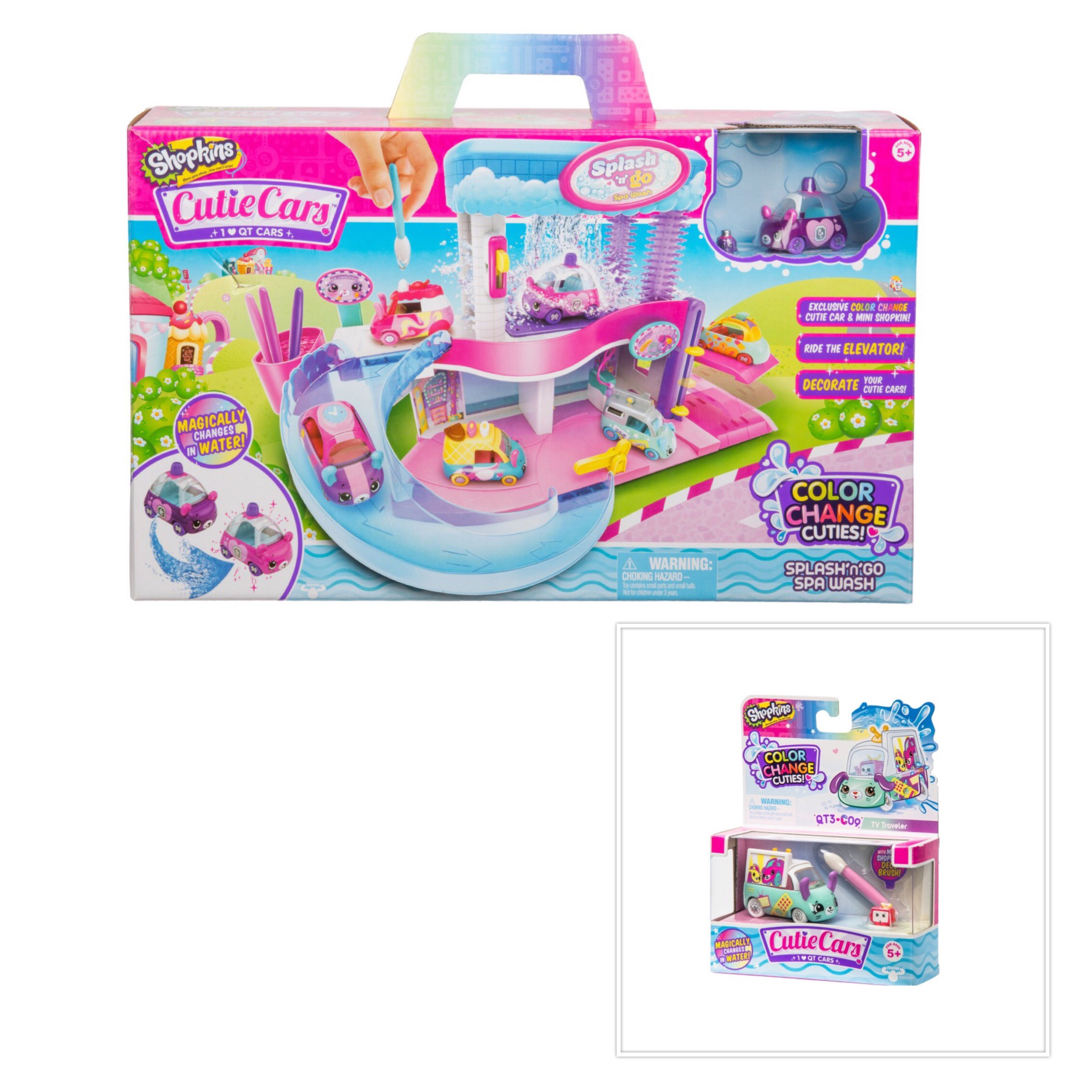 Shopkins Cutie Cars Spa Wash Playset and Color Change ...