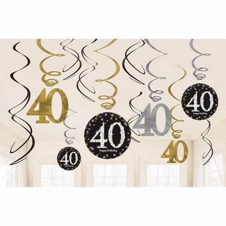 - Amscan Party Supplies Sparkling Celebration 40 Value Pack Foil Swirl Decorations (12 Piece), Multi Color, One Size