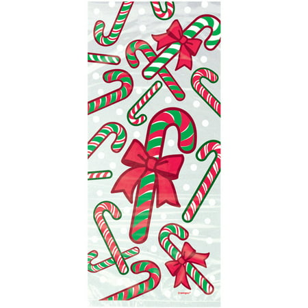 Candy Cane Christmas Cellophane Bags, 11 x 5 in, 20ct - Costco Candy Bags