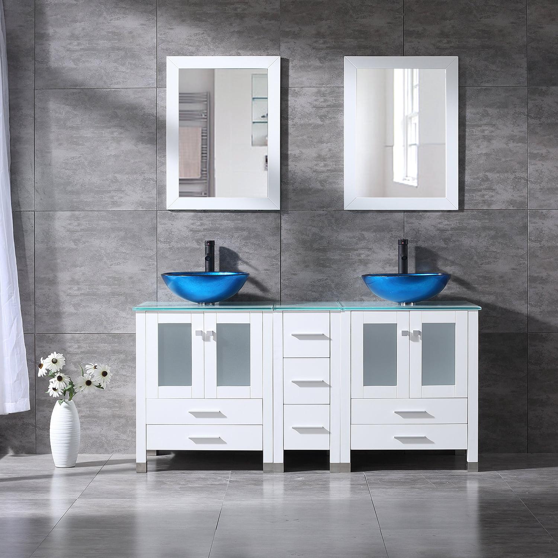 Wonline 60 Modern White Double Vessel Sink Vanity Cabinet Tempered Glass Top W Mirror Walmart Com