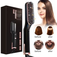 3 in 1 Electric Hair Straightener Brush for Men Women, Hair Beard Straightener, Curling Hair Styler Straightening Iron Straightener Heat Brush Comb, Perfect For Home Travel