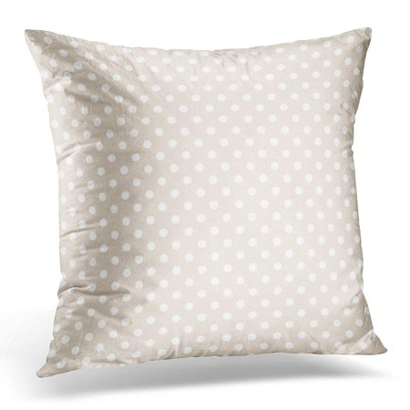 CMFUN Throw Pillow Case Cushion Cover Light Pattern with White Polka Dots on Pastel Beige Abstract Pillow Cover 18x18 Inches](White Polka Dots)