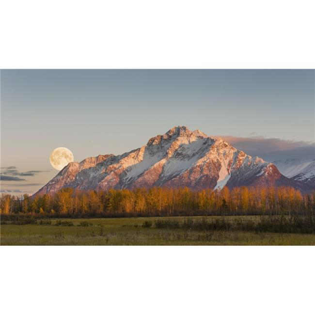 Posterazzi DPI12256364LARGE Composite Scenic Sunset View of Pioneer Peak with The Full Moon Rising Over The Poster Print - 40 x 22 in. - Large - image 1 de 1