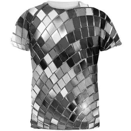 Non Metallic Disco Ball All Over Adult T-Shirt - Seventies Disco Clothing