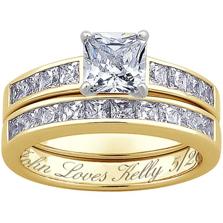 Personalized 14kt Gold over Sterling 2-Piece Square CZ Engraved Wedding Ring - Personalized Wedding Rings