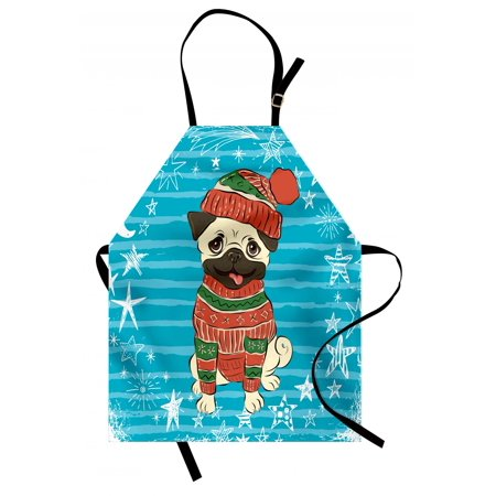 Pug Apron Happy Dog with Winter Clothes Vibrant Stripped Background with White Stars Moon, Unisex Kitchen Bib Apron with Adjustable Neck for Cooking Baking Gardening, Emerald Blue Red, by Ambesonne