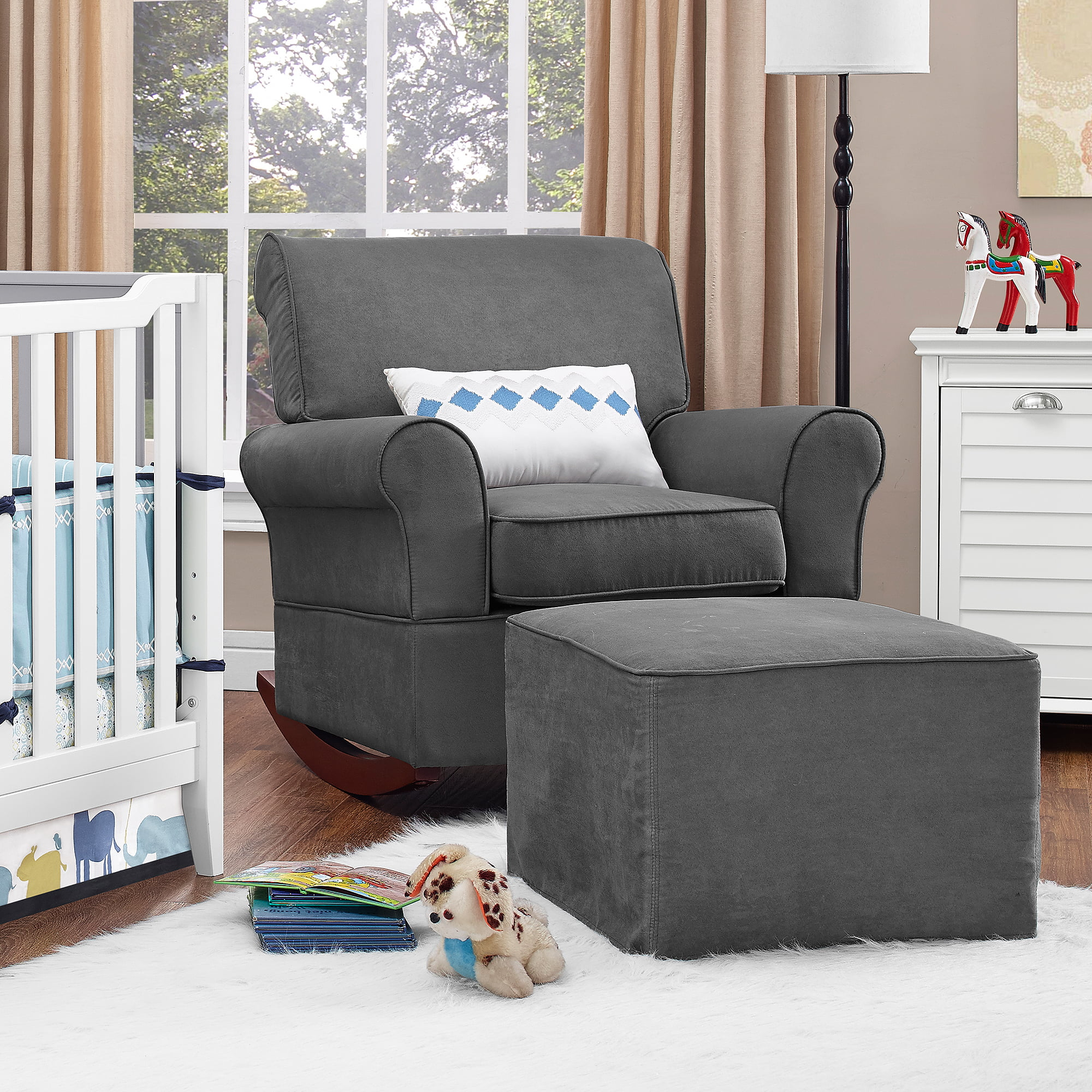 New Baby Nursery Rocking Chair Upholstered Grey Furniture