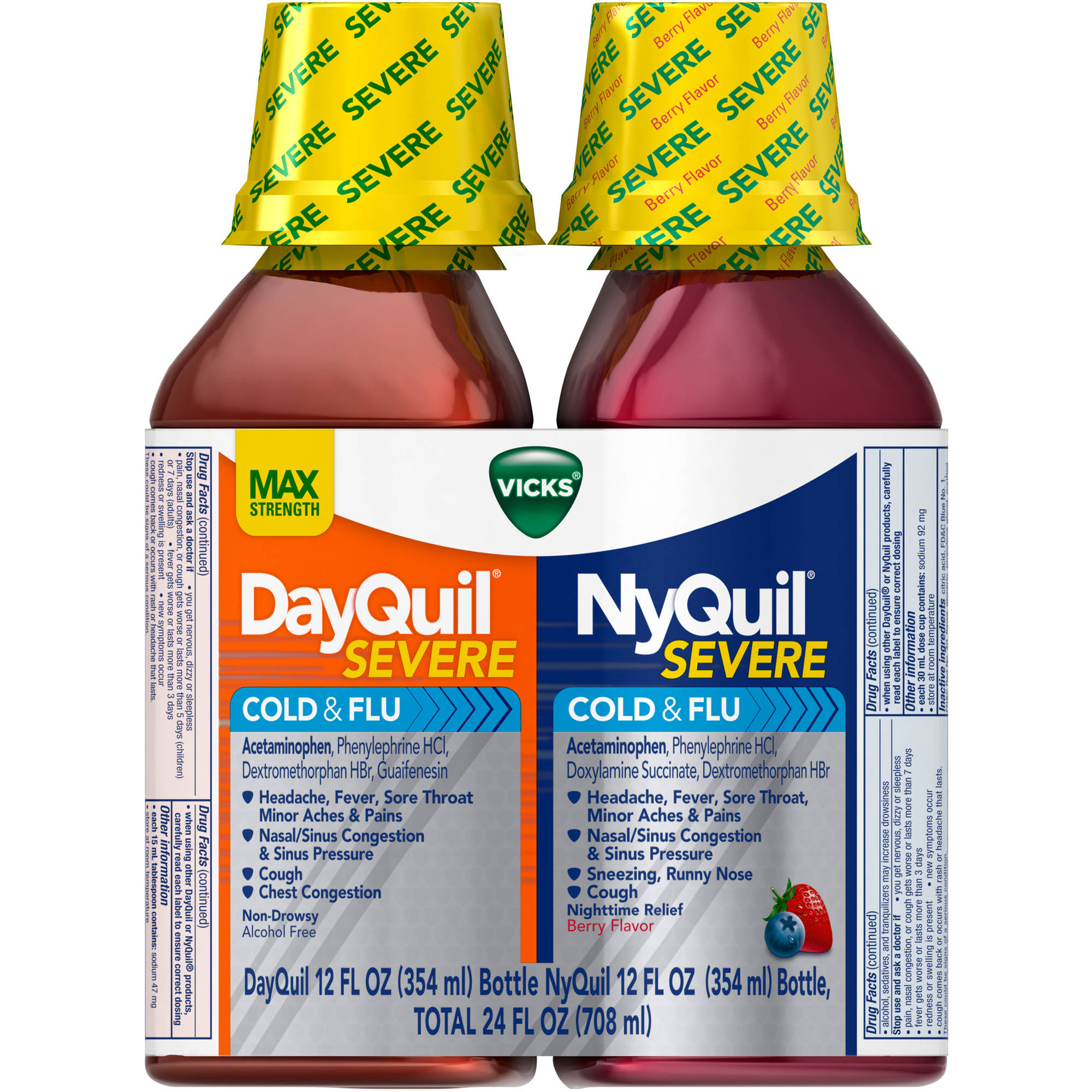 Vicks DayQuil Severe Cold & Flu and NyQuil Severe Cold & Flu Nighttime Relief Liquid Cold Medicine, 12 fl oz, 2 count