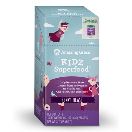 Amazing Grass Kidz SuperFood Drink Powder Wild Berry 15 Packets - Vegan