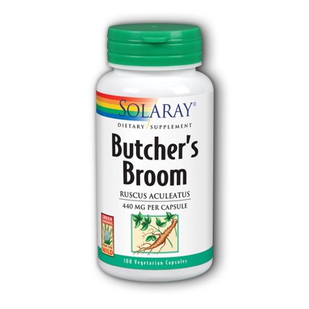 Solaray Butchers Broom 440 mg | Healthy Circulation & Blood Vessel Integrity Support | Non-GMO, Vegan & Lab Verified | 100 VegCaps