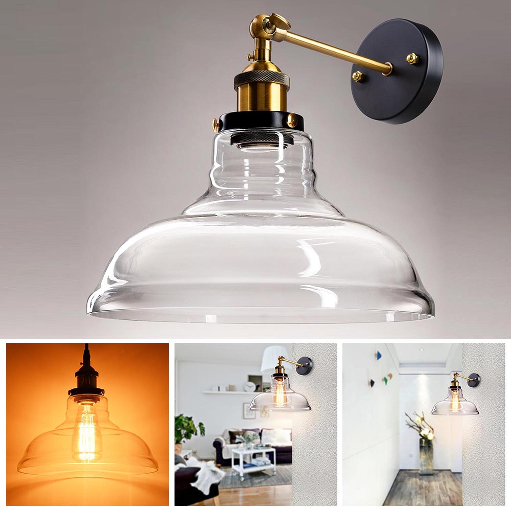 "Yescom Vintage Industrial 11"" Flashlight Shape Glass Light Wall Sconce Edison Lamp... by Yescom"
