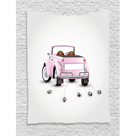 Love Tapestry Wall Hanging Just Married Themed Open Roof Top Car Love for Bride and Groom Picture Wedding Decorations, Bedroom Living Room Dorm Decor, Pink White, by Ambesonne (Car Themed Decor)