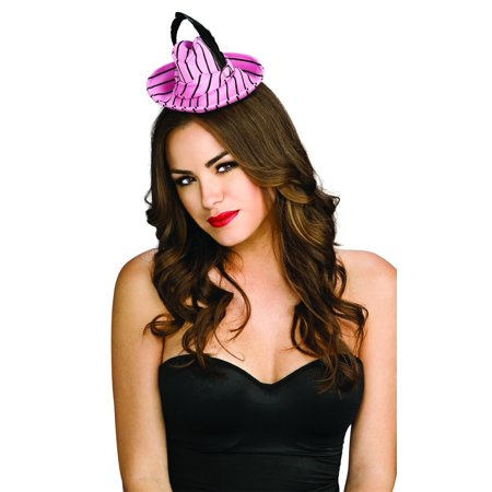 Pink & Black Striped Mini Fedora Costume Hat With Feather - Striped Fedora