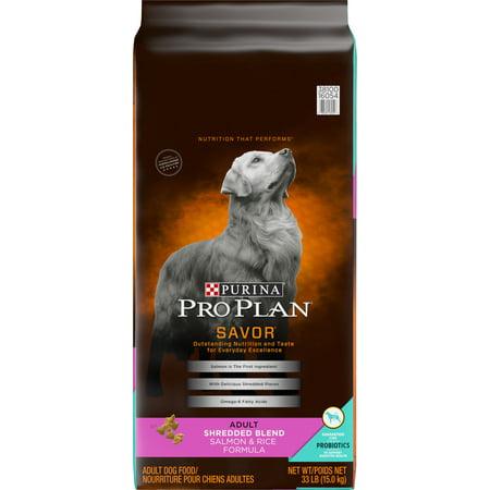Purina Pro Plan With Probiotics Dry Dog Food, SAVOR Shredded Blend Salmon & Rice Formula - 33 lb. Bag (Iams Lamb And Rice Dry Dog Food)