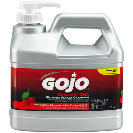 GOJO 1/2 Gallon Pump Bottle Clear Red Cherry Scented Pumice (Hand Cleaner Lotion Gallon Bottle)