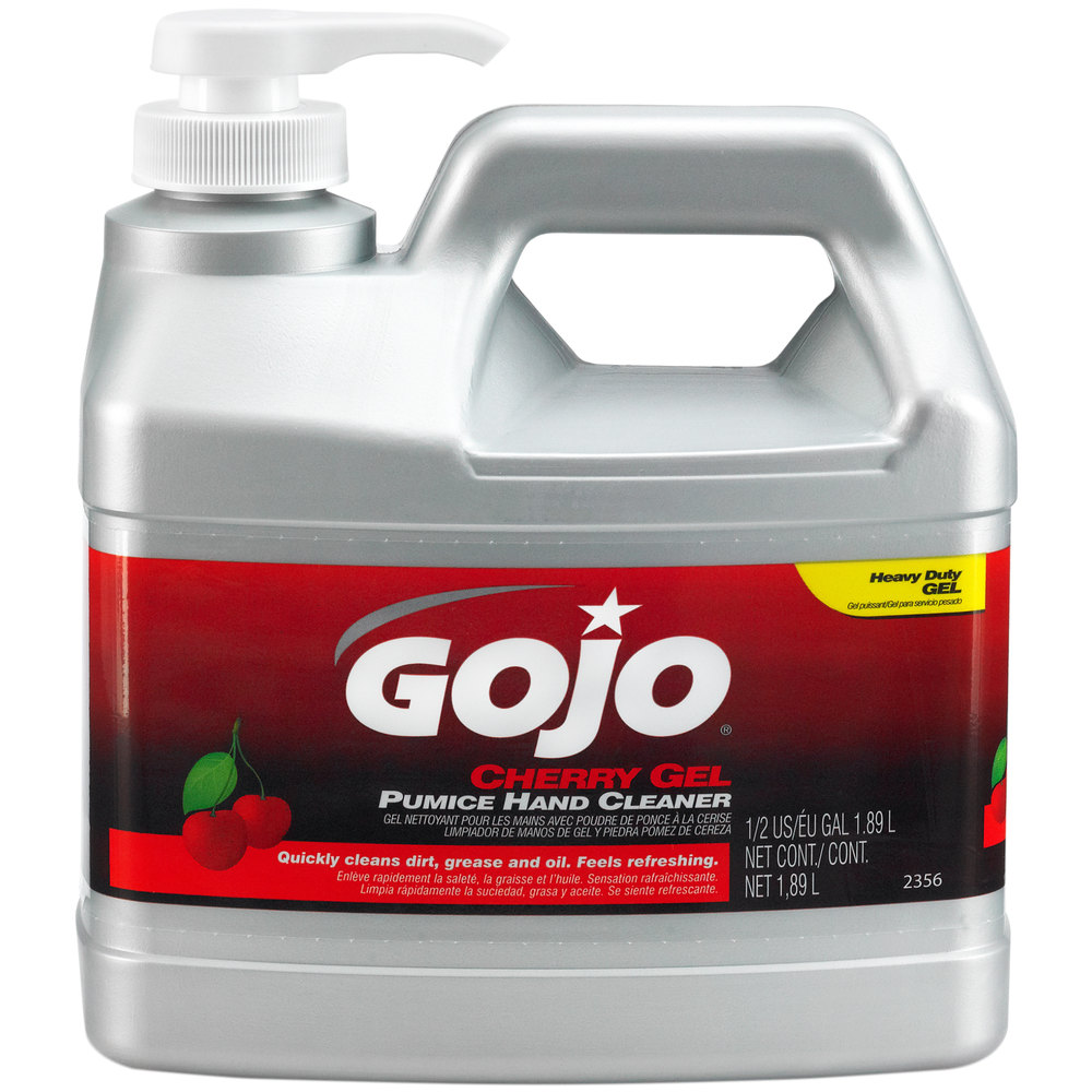 GOJO 1/2 Gallon Pump Bottle Clear Red Cherry Scented Pumice Hand