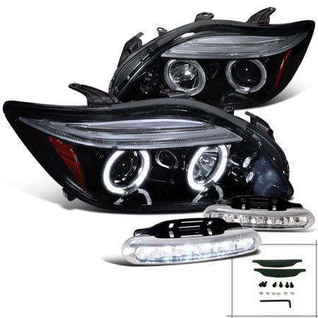 Spec-D Tuning For 2005-2010 Scion Tc Halo Glossy Black Projector Headlights W/Led Strip Fog Lamps (Left + Right) 2005 2006 2007 2008 2009 2010