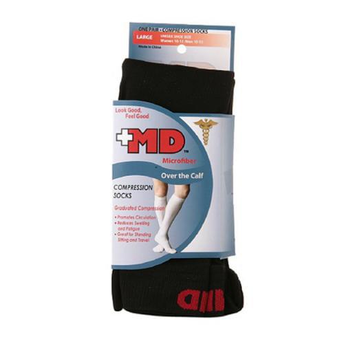 Md Microfiber Over The Calf Compression Socks Black, Large - 1 Pr
