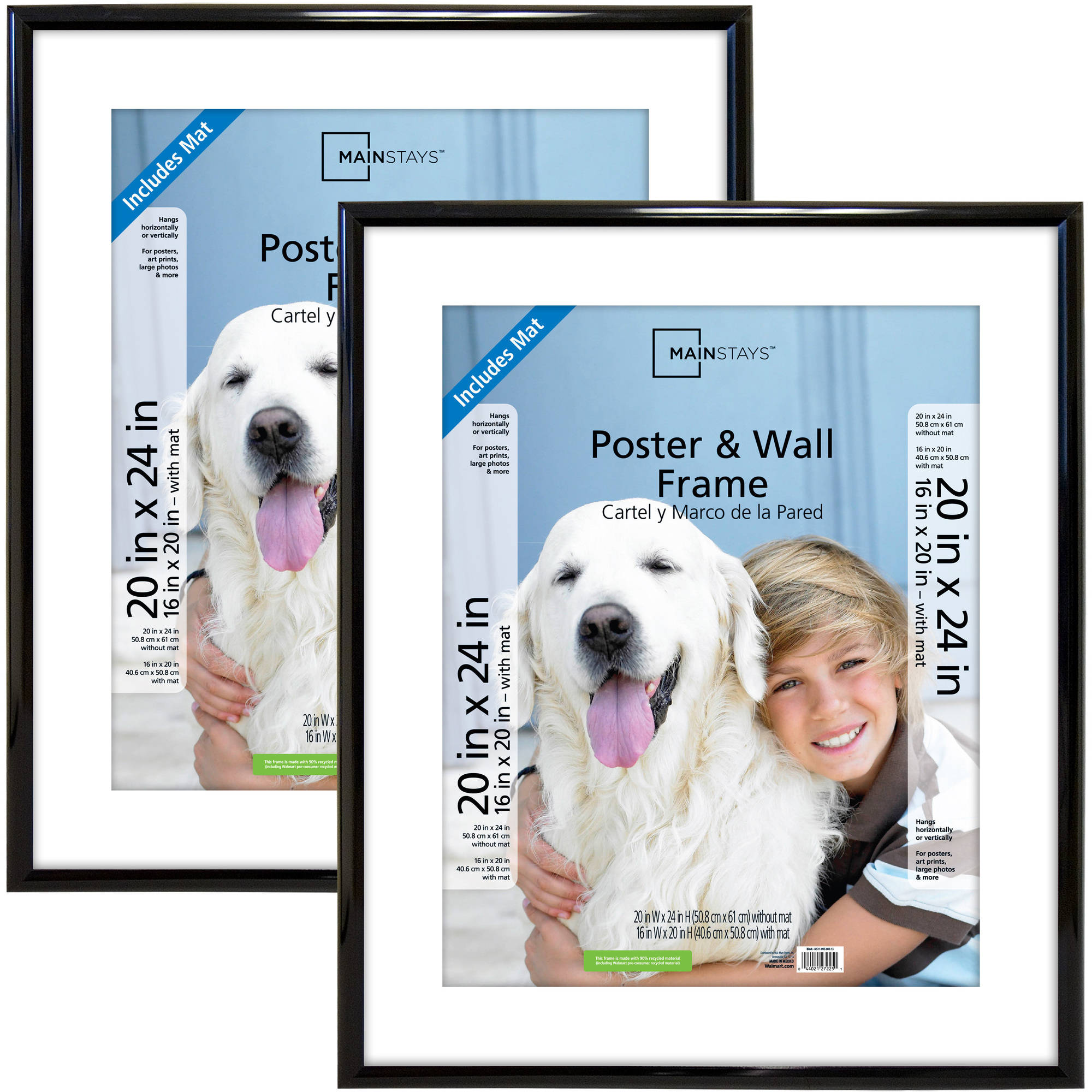 "Mainstays 20"" x 24"" (Matted to 16"" x 20"") Trendsetter Poster and Picture Frame, Black, Set of 2"