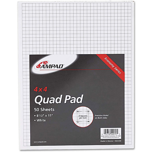 Ampad Quadrille Pad w/4 Squares/Inch, Letter, White, 1 50-Sheet Pad/Pack