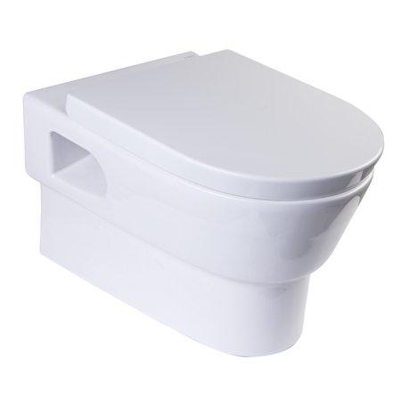 Eago Wd332 Round Modern Wall Mount Dual Flush Toilet Bowl