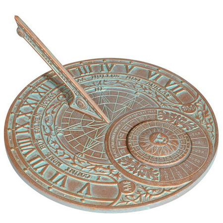 Perpetual Calendar Sundial, Copper Verdigris