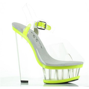 610-SHANA, 6'' Clear And Neon Wedge With Ankle Strap