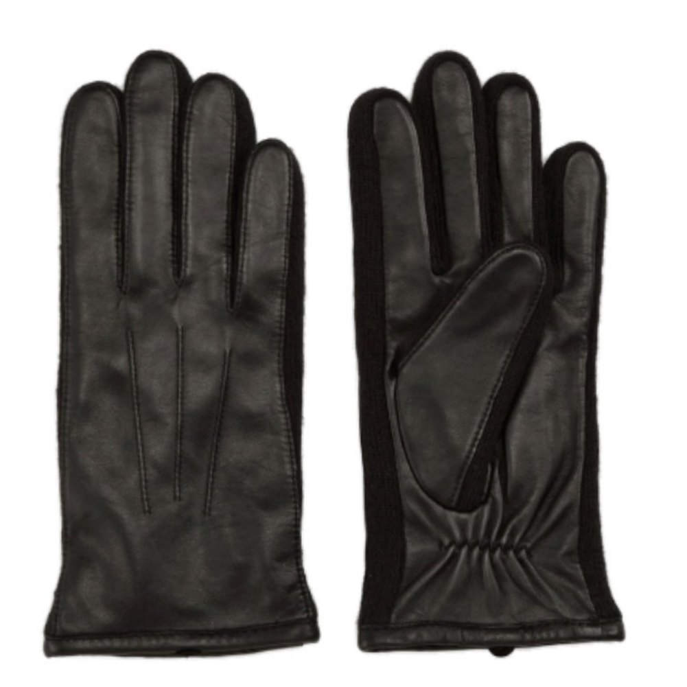 Fownes Womens Black Leather Gloves with Stretch Knit Sides
