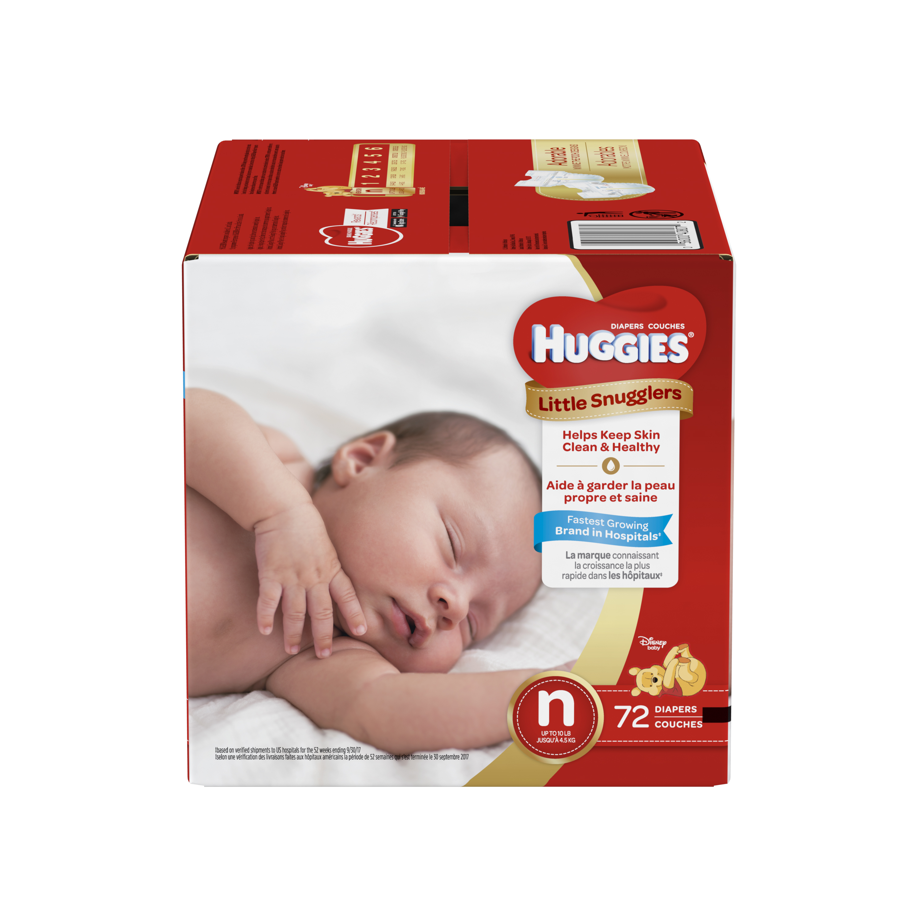 HUGGIES Little Snugglers Diapers, Size Newborn, 72 Diapers