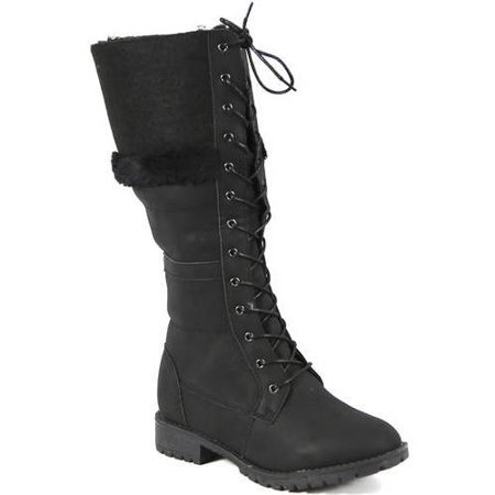 Carrini CA Collection Women's Fashion Lace-Up Faux Fur Trim Knee High Boots, Black