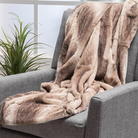 Noble House Lucca Oak Brown Stripes Fabric Throw