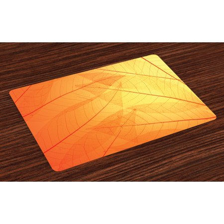 Orange Placemats Set of 4 Autumn Nature Fall Season Themed Dried Leaves with Skeleton Vivid Veins Close Up, Washable Fabric Place Mats for Dining Room Kitchen Table Decor,Orange Yellow, by Ambesonne