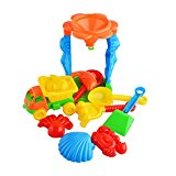11-Piece Beach Toy Set for Kids Sand Play Set with Funnel Truck Molds Sifter Shovel and Rake Multicolor by