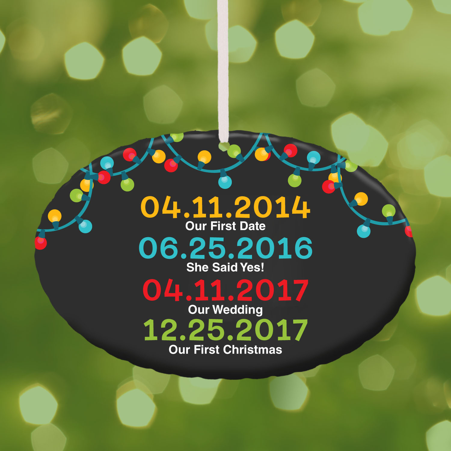 Personalized Special Dates Oval Christmas Ornament