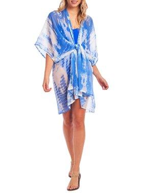 Cyn & Luca Juniors' Tie Dye Kimono Swimsuit Cover up