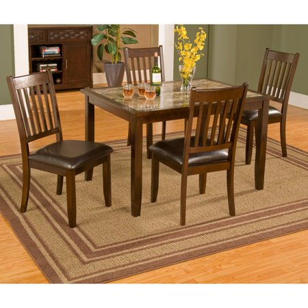 Alpine Furniture Capitola Faux Marble 5 Piece Dining Table Set ...