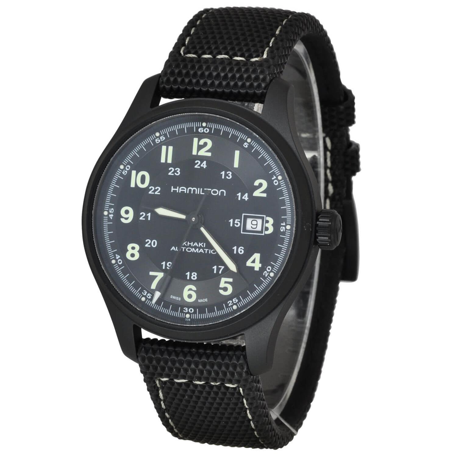 Hamilton Men's Khaki Field Titanium 42mm Black Canvas Band Titanium Case Automatic Analog Watch H70575733 by Hamilton