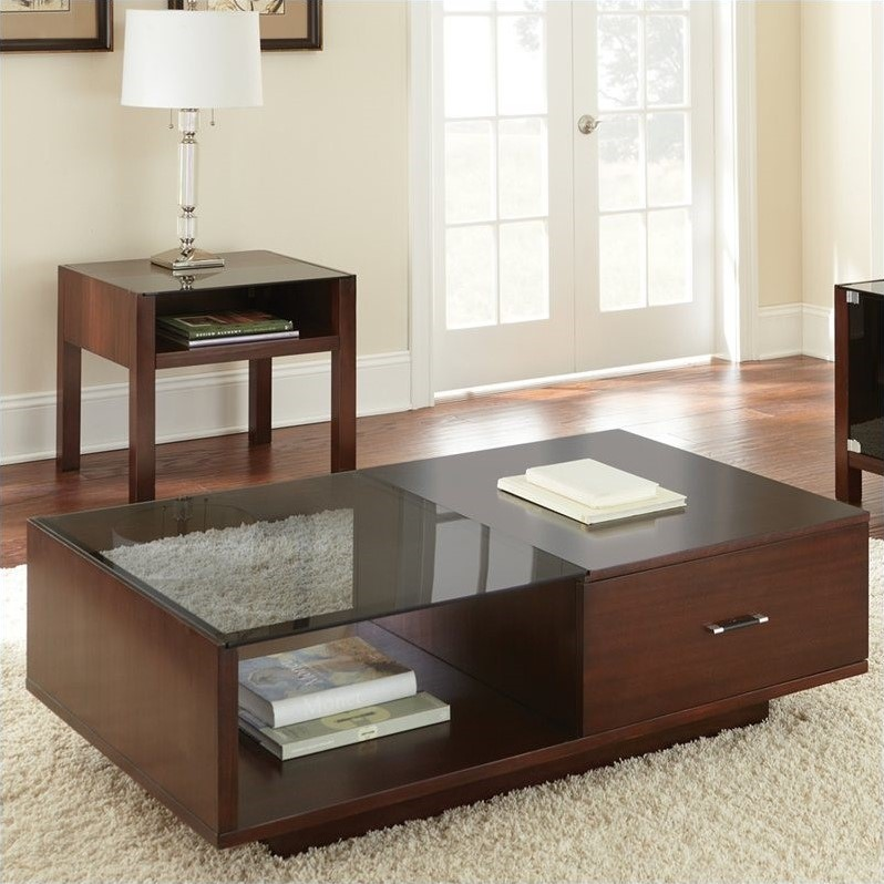 Steve Silver Cosmo Oval Cherry Wood 3 Piece Coffee Table Set   Walmart.com
