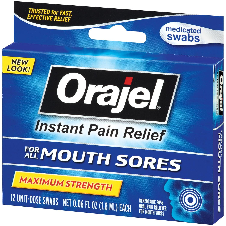 Orajel Medicated 12 Ct Mouth Sore Swabs  06 Fl Oz Peg