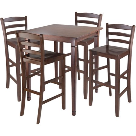 Kingsgate 5-Piece High Dining Set with Ladder-Back Stools, Antique Walnut ()