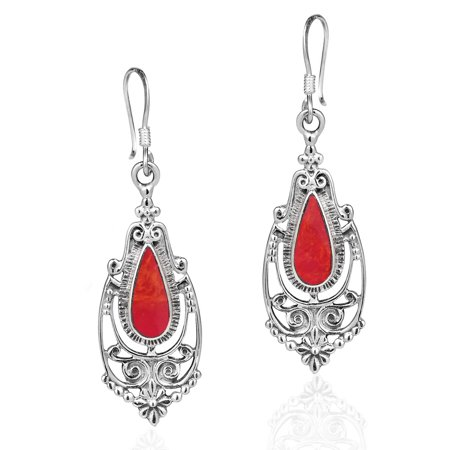 Dangling Victorian Earring (Victorian Style Teardrop Reconstructed Red Coral Inlay .925 Sterling Silver Dangle)