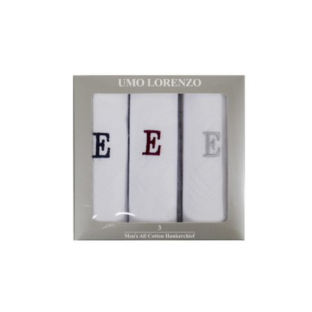 Men's 3 PC 100% Cotton Monogrammed Handkerchiefs Initial Letter -