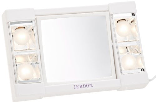 "Jerdon 6"" Portable Tabletop 2-Sided Swivel Lighted Makeup Mirror with 3x... by Jerdon"