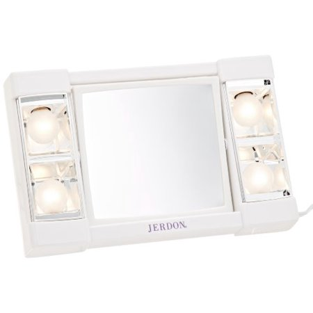 Jerdon 6u0022 Portable Tabletop 2-Sided Swivel Lighted Makeup Mirror with 3x Magnification, White